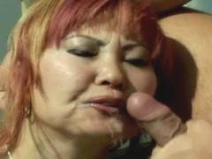 Tattoed asian mature gets her pussy fucked outdoor